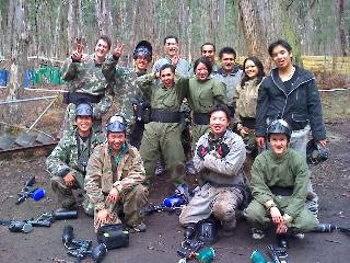 Paintball markers down, goggles off.